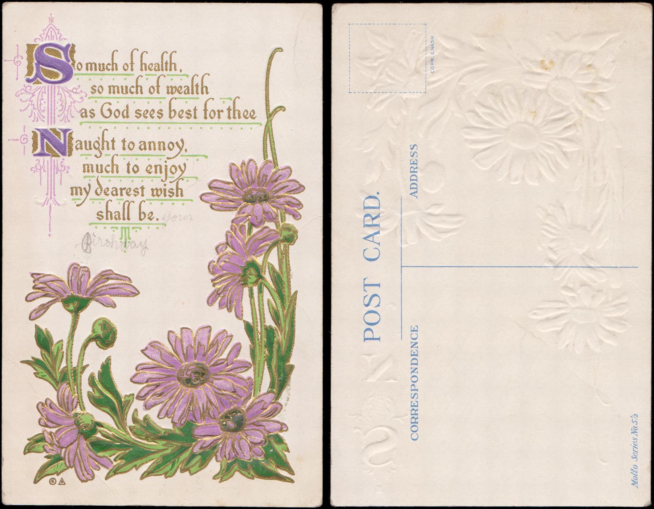 Unused Greeting Poem Pink Daisies C E Nash Motto Series No 5 1