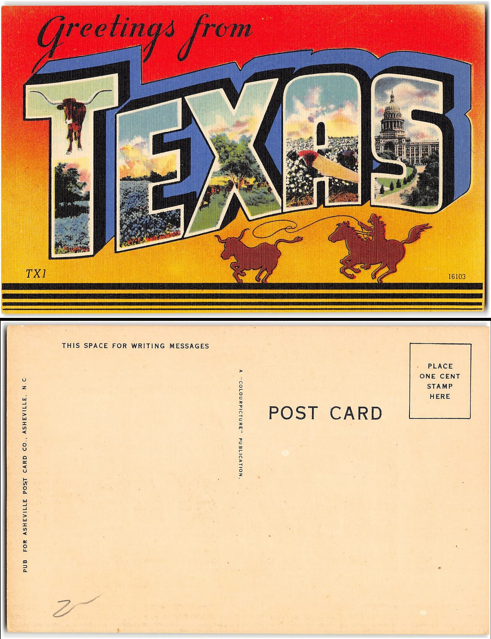 Unused postcard says greetings from texas ebay click for largerclearer image kristyandbryce Choice Image